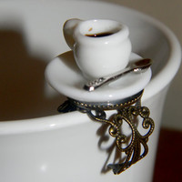 Tea Time Ring. Statement Ring. Adjustable Filigree Band. Ready To Ship.
