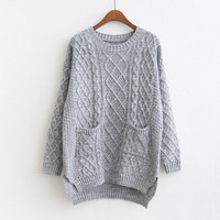 Korean Style Loose Cable Coarse Yam Knit Sweater