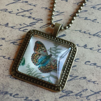 """Victorian Butterflies Steampunk Vintage Style Square Glass Cabochon Antiqued Brass Geometric Pendant Necklace 27"""" Ball Chain #BFL-19"""