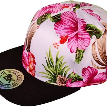BK Caps Flat Bill Floral Snapback Hats (Pink Flower/ Black) - 21480