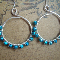 Hoop Earrings Teal  / Medium // Silver Plated / Blue Teal // Handmade Hammered Metalwork // Earrings for women