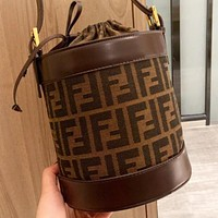 Fendi New fashion more letter canvas bucket bag crossbody bag shoulder bag women