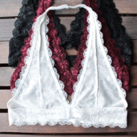 Lace Halter Bralettes (Black, Burgundy, White)