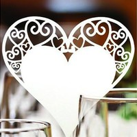 50pcs / Lots Laser Cut White Wine Glasses Place name number cards Heart Wedding Favor Party Supply Table Decoration (Color: White) [7983357383]