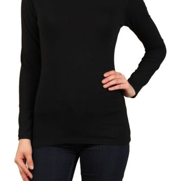 Basic Long Sleeve Scoop Neck Top