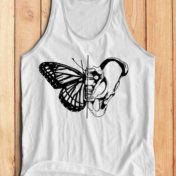 Butterfly + Skeleton Tank Top - Insect Shirt // Mens Tank Top - Mens Insect Shirt // Mens Graphic Tank Top - Boho Clothing - Boho Top