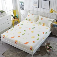 Aloe Cotton Flower Pattern Fitted Sheet Set Sanding Pillowcases Bedding Set Bed Sheet With Elastic Band Mattress Cover Bed Linen