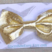 Metallic Gold Leather Bow Hair clip for Girls