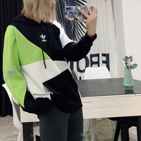 """Adidas"" Couple Casual Fashion Letter Pattern Contrast Color Long Sleeve Hooded Sweater Women Hoodie Tops"