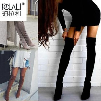 POLALI Size 34-43 2018 New Shoes Women Boots Black Over the Knee Boots Sexy Female Autumn Winter lady Thigh High Boots