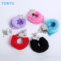 1Pair New Stylish Sexy Adult Game Night Party Game Gift Furry Soft Metal Fuzzy Handcuffs Soft Game Gift for Sex Toys
