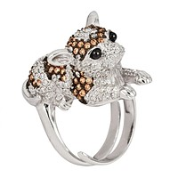 Brown Zirconia Studded Chihuahua Sterling Silver Adjustable Ring
