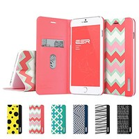 iPhone 6 Plus Wallet Case, ESR the Beat Series Protective Case Wallet [Multi-Stand View Angles] Flip Cover Folio Case for 5.5 inches iPhone 6 Plus (Pink Chevron)