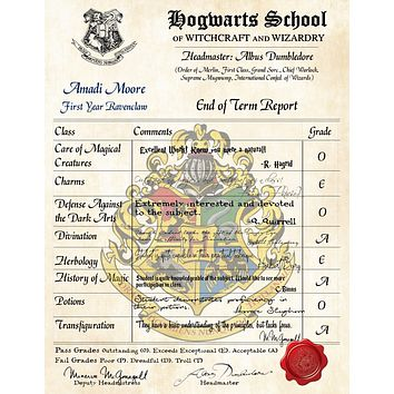 Ravenclaw Personalized Harry Potter Report Card - Hogwarts School of Witchcraft and Wizardry
