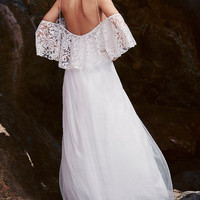 White Lace Ruffled Off-shoulder A-Line Maxi Dress