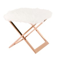 Laurel Faux White Sheepskin Ottoman Rose Gold Base