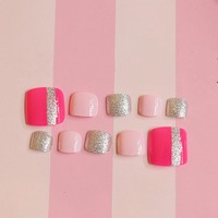 Sweet Fake Toe Nails Hot Pink Glitter Silver Stripe Patterns Cute Lady Nail Art Full Cover Toenails 24Pcs T008