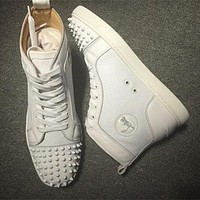 Cl Christian Louboutin Lou Spikes Style #2188 Sneakers Fashion Shoes - Sale