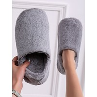 Faux Fur Wide Fit Bedroom Slippers