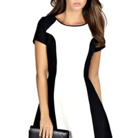 Charlie Cap Sleeve Colour Block Swing Dress