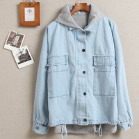 HOODED VEST FLEECE LOOSE COWBOY COAT TWO-PIECE OUTFIT