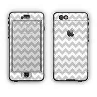 The Gray & White Chevron Pattern Apple iPhone 6 Plus LifeProof Nuud Case Skin Set