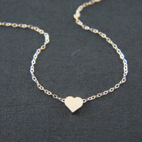 Silver tiny heart necklace, sterling silver chain - gift, modern, casual, everyday, Valentine's day, anniversary