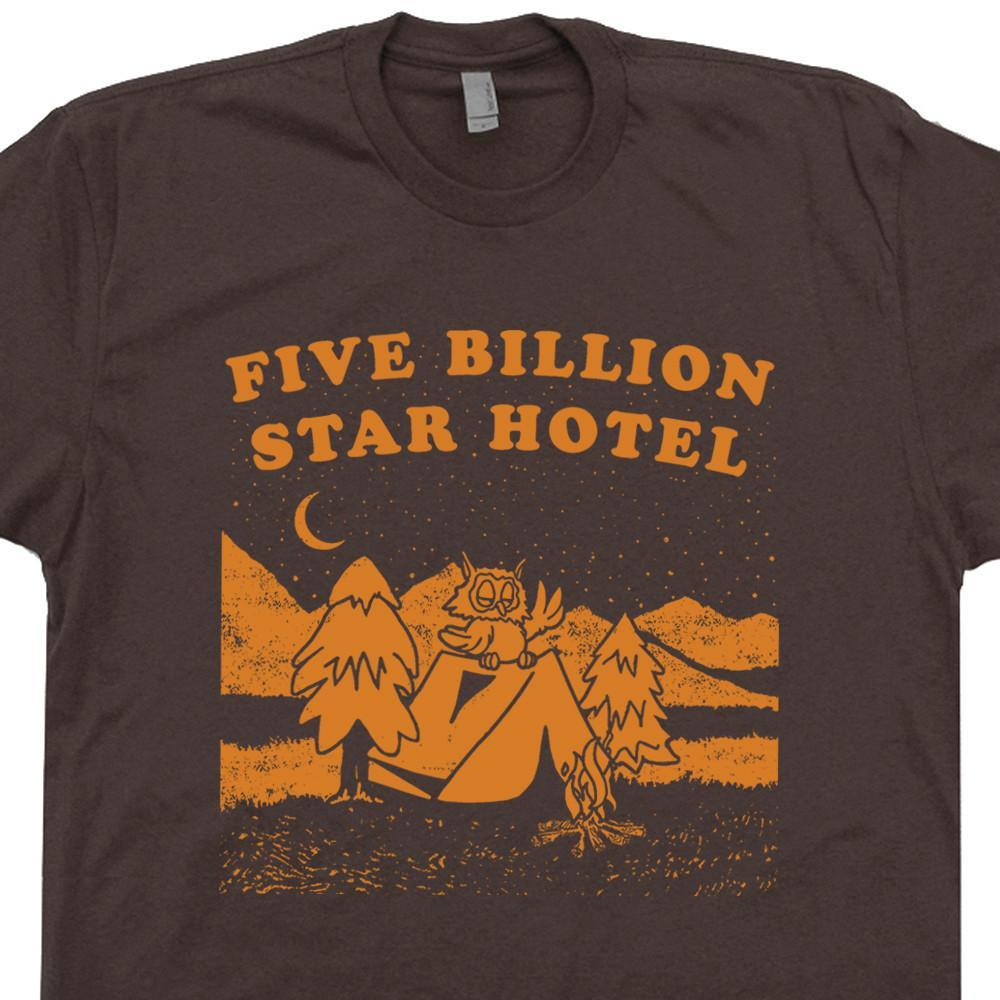 Image of Five Billion Star Hotel T Shirt Funny Camping T Shirt Woodsy Owl T Shirt