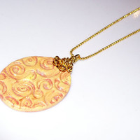 "Yellow/Gold Swirl Aromatherapy Clay Pendant with 16"" 18KGF Ball Chain Necklace Handmade Essential Oil Personal Diffuser Necklace"