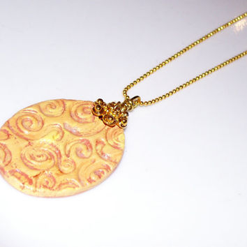 """Yellow/Gold Swirl Aromatherapy Clay Pendant with 16"""" 18KGF Ball Chain Necklace Handmade Essential Oil Personal Diffuser Necklace"""