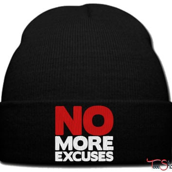 no more excuses beanie knit hat