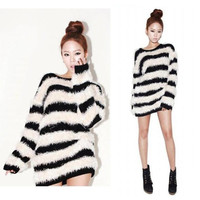 Striped Long Sleeve Fur Sweater