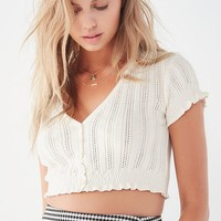 UO Ellen Pointelle Button-Down Cropped Sweater | Urban Outfitters