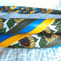 Sunflower Power Dance & Exercise Hula Hoop COLLAPSIBLE or STANDARD - flowers yellow blue olive