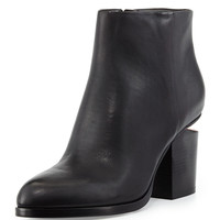 Gabi Tumbled Leather Lift-Heel Ankle Boot, Black - Alexander Wang - Black