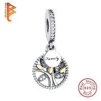 Original 925 Sterling Silver European Family Tree Crystal Charms Beads Fit Pandora Bracelet Pendant Authentic Jewelry Making