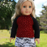 18 inch doll clothes, deep red long sleeve shirt with sequins, dark wash denim mini skirt with white lace overlay, american girl ,maplelea