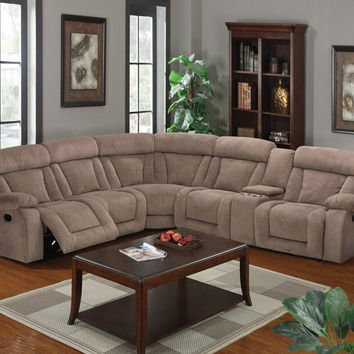 Acme 53880 6 pc Kylie tan fabric sectional sofa with recliners and drink console