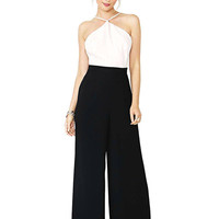 White Black Halter Jumpsuit with Open Back