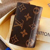 Hipgirls  LV Louis Vuitton Fashion New Monogram Tartan Print Leather Wallet Key Case Bag