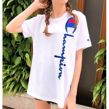 Champion New fashion embroidery letter couple top t-shirt White