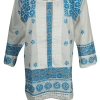 WOMENS ETHNIC INDIAN TUNIC BLOUSE FLORAL EMBROIDERED LONG SLEEVES KURTA DRESS