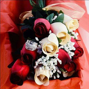 Red & Cream Bouquet Jewelry Roses