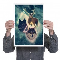 Quirky Illustrated Gifts | Wolf and Deer Print | Drew Turner & Kris Tate | New | Prints | Ohh Deer