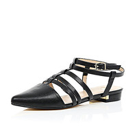 River Island Womens Black caged strappy pointed shoes