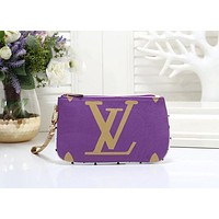 Louis Vuitton LV Hot Sale Fashion New Women Leather Leisure Handbag Zipper Wrist Bag Purse Wallet Purple