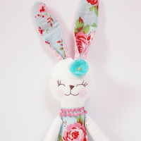 Baby toys Animal rag doll Stuffed Bunny blue pink floral Rabbit doll for girl