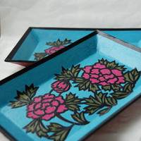 Blue Hanji Trays Plates Flower Design Rectangular Hanji Paper Tray Handmade (Set of 2)