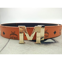 MCM CLAUS Gold Letter Buckle Double Side Adjustable Belt Cognac Belt