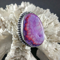 Purple Dragon's Vein Quartz Statement Ring ~ Size 8
